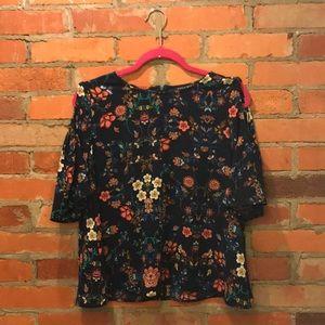 Tops - Navy floral cold shoulder top